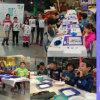 "The left side of the banner is a collage of four photographs of children ages 5-12 years. Each of the photographs depicts the children in different stages of creating a Japanese calligraphy piece or eating maki sushi. The right side of the banner reads ""KIDS DAY OFF CAMPS"" and lists the dates of the camps: ""Winter Break 12/21/19, Winter Break 12/27/19, Winter Break 1/5/20, MLK Jr Day 1/20/20, Presidents' Day 2/17/20"" on a purple background with a concentric circle design on it."