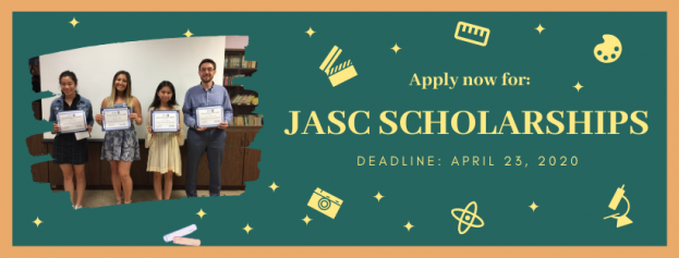 "An image of four students holding scholarship certificates is in the left side of an image of a chalkboard with images of stars and various science and art equipment. Text reads ""Apply Now For/JASC SCHOLARSHIPS/DEADLINE: APRIL 23, 2020"""