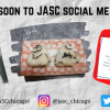 """A flyer that says """"Coming soon to JASC Social Media…"""" with a black and white picture of a small Japanese child on the left, a picture of two onigiri in the middle, and a graphic explaining a kanji character on the right. On the bottom are facebook, twitter, and instagram logos with JASC's handles by them."""