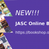 "Promotional graphic with purple background with several images of collages of book covers with Japanese and Japanese American themes, as well as JASC's logo. Text reads, ""New!!! JASC Online Bookshop / https://bookshop.org/shop/JASC"""