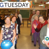 A photo of two rows of seniors smiling and some waving. Over the photo is a Giving Tuesday Logo, and RRF Foundation for Aging logo, and a JASC logo