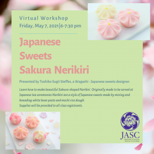 A promotional graphic for a virtual Japanese Sweets Sakura Nerikiri workshop, with photos of cherry blossom shaped candy and a JASC logo