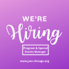 JASC is hiring! Program and Special Events Manager. Go to www.jasc-chicago.org